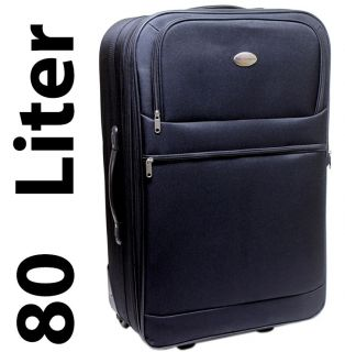 Trolley Koffer Nylon Schloss Suitcase Bag Schwarz 80 Liter BE