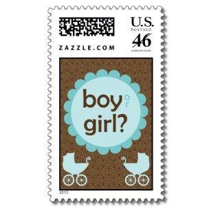 Elegant Baby Carriage Gender Reveal Party Postage Stamp