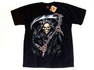 Shirt Sensenmann Totenkopf skull gothic Biker metal Gr. L skelett