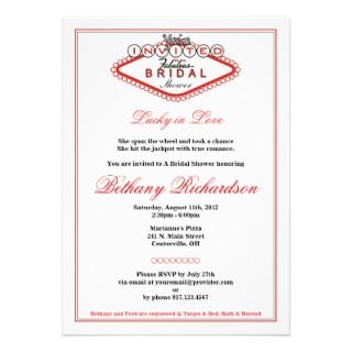 fabulous las vegas style bridal shower invitation customizable even