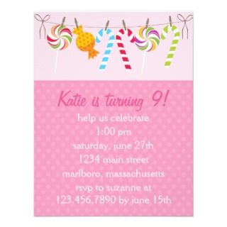 Sweet Candy Birthday Party Personalized Invite