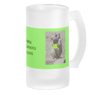 St. Patricks Day Squirrel w/ Shamrock Beer Stein Mug