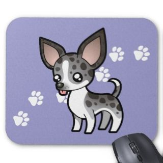 Cartoon Chihuahua (merle smooth coat) mousepads by SugarVsSpice
