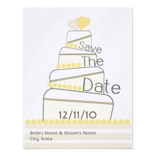 Yellow Wedding Cake Save The Date Announcements