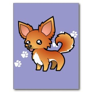Cartoon Chihuahua (red and white long coat) postcards by SugarVsSpice