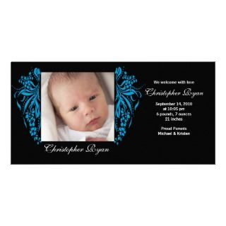 Turquoise Flourish New Baby Birth Annoucement Personalized Photo Card
