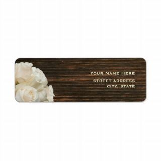 White Roses & Barnwood Address Label