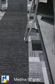 Velours Teppich Läufer *MEDINA 97 grau 80 cm breit NEU rutschfest