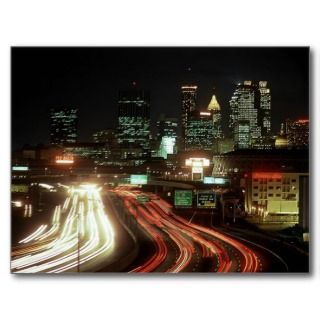 Postcard Atlanta Night Fulton St Central Ave Dome