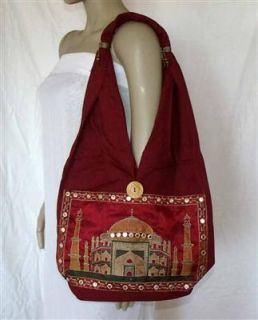 Umhängetasche Beutel Tasche Taj Mahal bordeaux rot Indien 03