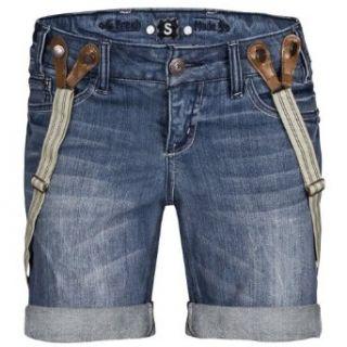 FRESH MADE Damen Jeans Shorts mit Hosenträgern LFM 007