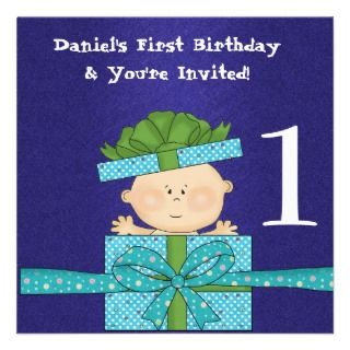 Boys 1st Birthday Party TEMPLATE Invitation