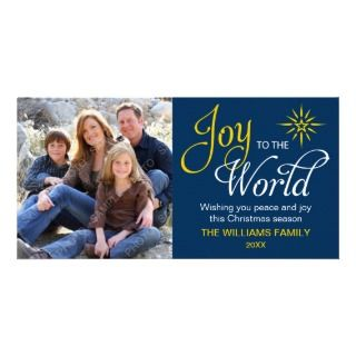 Joy to the World Religious Christmas Navy Blue Customized Photo Card