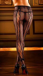 XL Netz Strumpfhose schwarz mit sexy Schnürung, Nylons Dessous Gogo