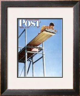 Boy on High Dive Saturday Evening Post Cover, August 16,1947 Framed Giclee Print by Norman Rockwell