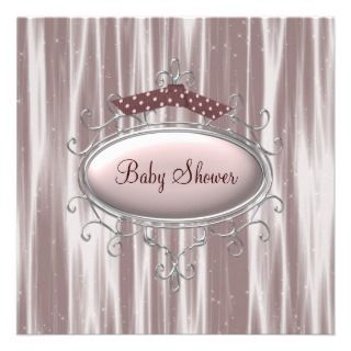 Pink Brown Baby Girl Shower Personalized Announcemen