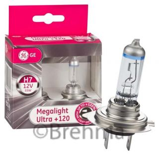 2er Set H7 PX26d GE General Electric Megalight Ultra +120