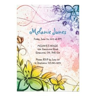 Rainbow Color Flowers Birthday Party Invitation