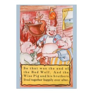 Vintage Fairy Tale Three Little Pigs and the Wolf Personalized