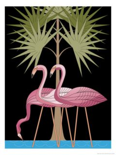 Three Pink Flamingos Art