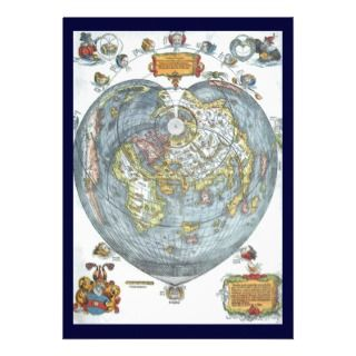 Heart Shaped Antique World Map Peter Apian Invitation