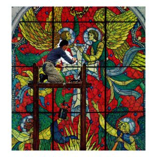 Repairing Stained Glass, April 16,1960 Giclee Print by Norman Rockwell