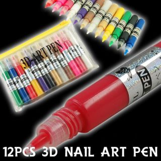 NEU ☀ 12 FARBEN ☀ 3D Nail Art Pen Set Nagel Design OVP