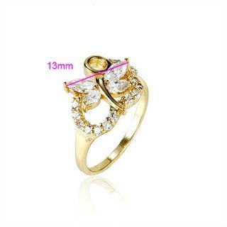 Goldschmuck Schmuck 18K Gold vergoldet Damen Bunt Zirkon Ring #919x59
