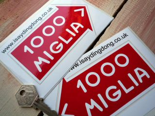 MILLE MIGLIA handed pair 115mm classic car stickers