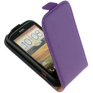 Premium Leder Flip Style Case Tasche lila f HTC Desire C Etui Schutz