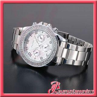 NEU Silber Luxus Damen Quarz Armband UHR mit Strass Box