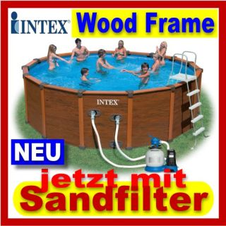 INTEX Wood Grain Frame Pool 478 x 124 cm Schwimmbecken + Sandfilter