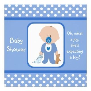 Blue Dots African American Baby Shower Invitations
