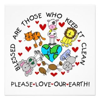 Animals Love the Earth T shirts and GIfts Personalized Invites