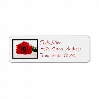 Long Stem Red Rose Mailing Label