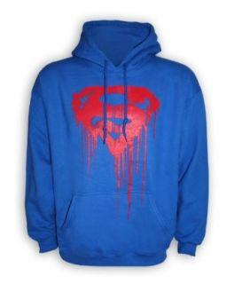 Superman Kapuzenpullover Hoodie Red Logo   blau, 100 % Baumwolle