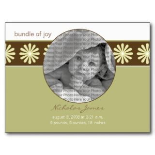 Baby Birth Announcement Seagrass Flowers Post Cards