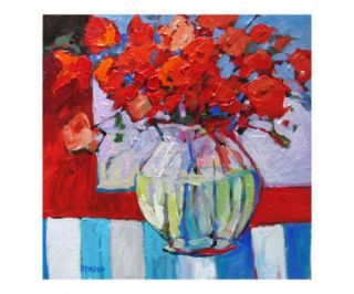 Still Life with Red Flowers Giclee Print by Patty Baker