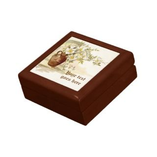 Vintage brown vase white roses watercolor gift box