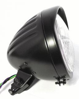 5¾ Scheinwerfer schwarz black Custom grooved für Harley Chopper