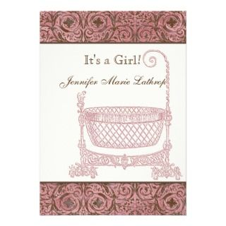 Baby Shower Cupcake Wrappers   Pink Brown Damask Full Color Flyer