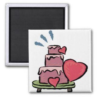 Wedding Cake Hearts Fridge Magnet