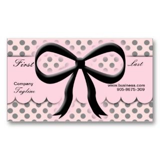 Kawaii Polka Dots Bow Business Card
