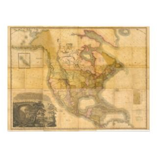 Map of North America by Henry Schenck Tanner 1822 Custom Invitations