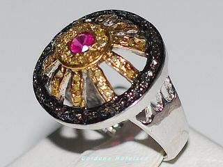 LUXUS PUR  Echter 1.46ct Schwarze & Gelbe Diamant Rubin Ring 925