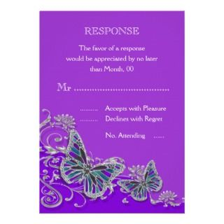 Purple silver blue butterfly wedding personalized announcements