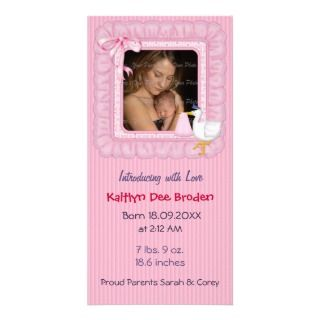 Stork and Baby Brth Announcement for Girl Personalized Photo Card