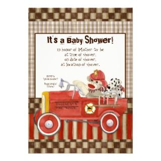 Sock Monkey, Fire Truck Boy Baby Shower Invitation