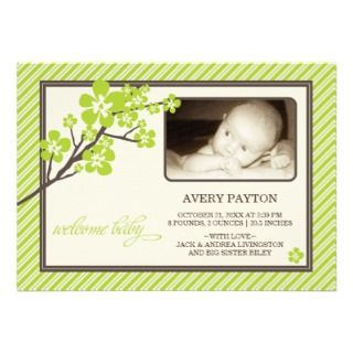 Modern Cherry Blossoms Baby Birth Announcement