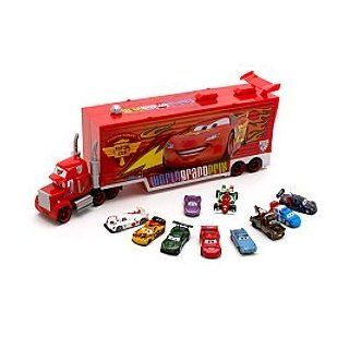 Disney Pixar Cars 2 Mack Transporter & 10 Die Cast Cars